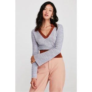 NWT Free People Round About V Neck Sweater XS